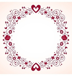 hearts and flowers frame 3 vector image