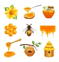 Honey Isolated Icon Set vector image vector image