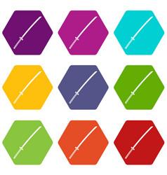 Japanese katana icon set color hexahedron vector
