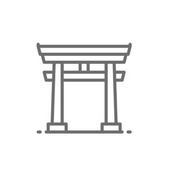 Japanese torii gate line icon vector