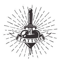 Knife in heart tattoo with ribbon and rays vector