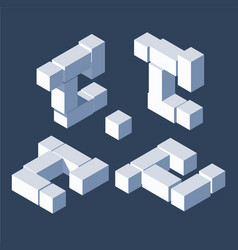 Large bundle letter c in isometric 3d style build vector