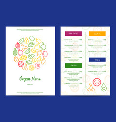 line fruits icons vegan cafe menu vector image