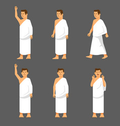 Male activity figure hajj pilgrims character set vector