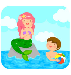 Mermaid and boy vector