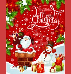 Merry christmas santa gifts tree greeting vector