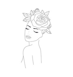 minimal line drawing woman flower images vector image