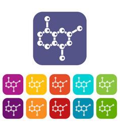 Molecule icons set vector