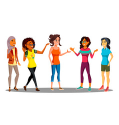 Multicultural group of happy women together vector