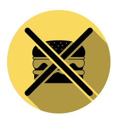 no burger sign flat black icon with flat vector image