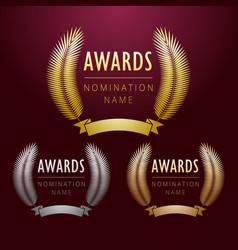 palm ribbon awards vector image