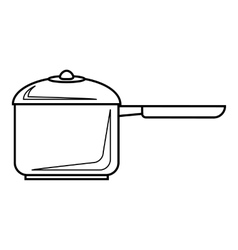 Pan with handle icon outline style vector