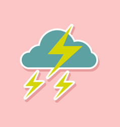 paper sticker on stylish background of lightning vector image