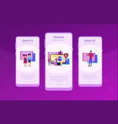 Parental control software app interface template vector