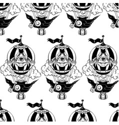 Pattern with hand drawn air balloon vector
