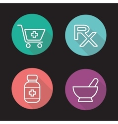 Pharmacy flat linear long shadow icons set vector