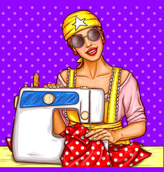 pop art girl with sewing machine vector image
