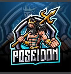 Poseidon esport mascot logo design vector