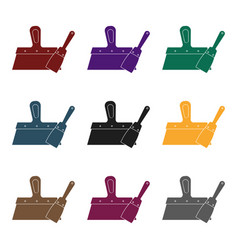 putty knives icon in black style isolated on white vector image