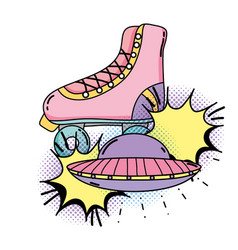 retro skate with ufo pop art style vector image
