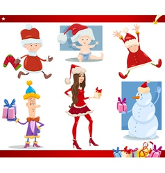 santa claus and christmas cartoon set vector image
