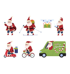 santa claus delivery gifts set vector image