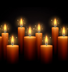 seamless border with luminous candles on a dark vector image