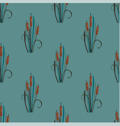 seamless pattern with elegant reed bushes on vector image