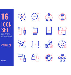 set 16 icons connection related thin line style vector image