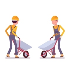Set of workers with wheelbarrows vector image vector image