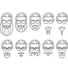 set outline face mustaches and beards vector image