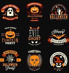 Set retro vintage halloween badges labels vector