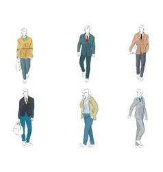 set six businessmen vector image