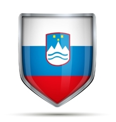 Shield with flag slovenia vector