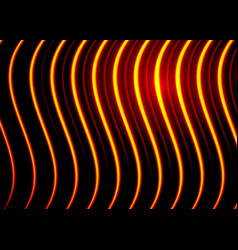 Shiny metal waves bright gold neon stripy texture vector