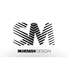 Sm s m lines letter design with creative elegant vector