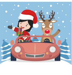 small girl in santa claus and reindeer with red vector image