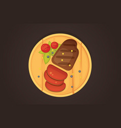 steak a piece of meat cuts cartoon vector image