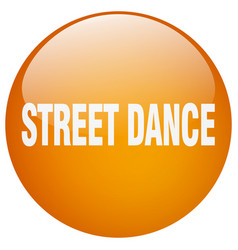 Street dance orange round gel isolated push button vector