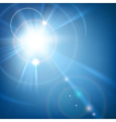 Sun shine light with lens flare vector image
