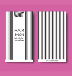 Template design card with long straight hair and vector