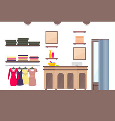 template of shop with varied vogue female clothing vector image