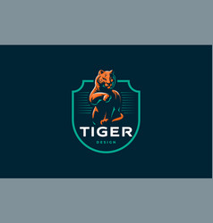 Tiger is washing its paw vector