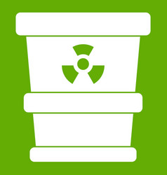 trashcan containing radioactive waste icon green vector image