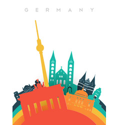 travel germany 3d paper cut world landmarks vector image