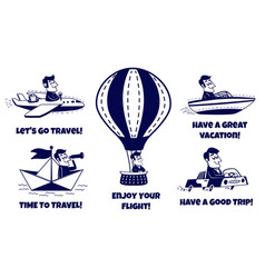 Travel icons set happy man traveling vector