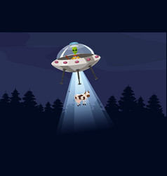 ufo abducting a cow summer night forest landscape vector image