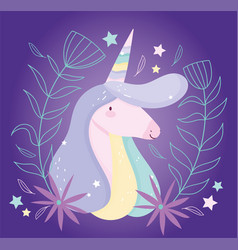 unicorn flowers floral decoration fantasy magic vector image