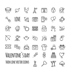 valentines day icons romantic design elements vector image