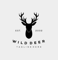 Vintage silhouette head deer logo design vector